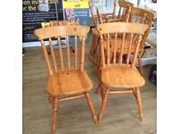 6 Pine Farmhouse Dining Chairs - M&S VGC. Will sell as 2 + 4 or all 6 together.