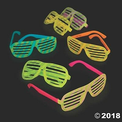 12 Adult Glow In The Dark Shutter Sunglasses Glasses 80's Birthday Party