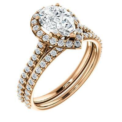 2.50 Ctw Halo Pear Cut U-Setting Pave Diamond Engagement Ring Set F,SI1 14K WG 7