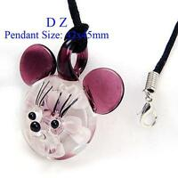 "Women's Pretty Bead Glass Murano Pendant Purple ""Mickey"""
