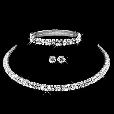 Women Prom Wedding Party Bridal Jewelry Crystal Necklace Earrings Bracelet Set