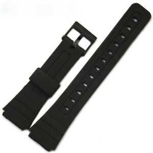 18mm Black Replacement Watch Strap Rubber Band for Casio F-91W F-94 F-94W F-105W
