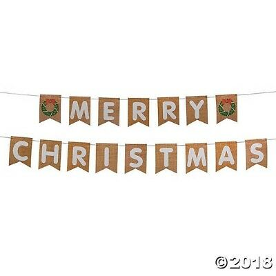 Diy Party Banner (9ft Rustic Burlap Style DIY Merry Christmas Banner Holiday Party)