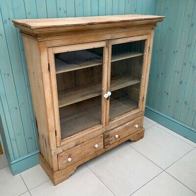 Solid Pine Glass Cabinet with Drawers - Vintage Farmhouse Kitchen