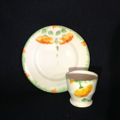 Vintage ART DECO hand painted EGG CUP & PLATE 20s 30s 40s retro kitchenalia rare