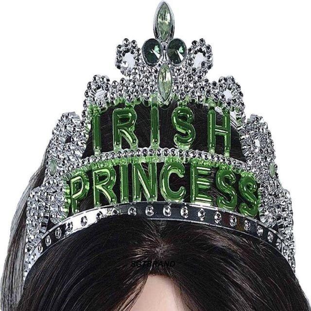GREEN IRISH PRINCESS TIARA HAT ST PATRICKS DAY WOMEN GIRLS FUN COSTUME ACCESSORY