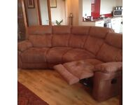 Like new light brown Faux Nubuck Leather 4 seater sofa with 2 x recliners and a recliner chair
