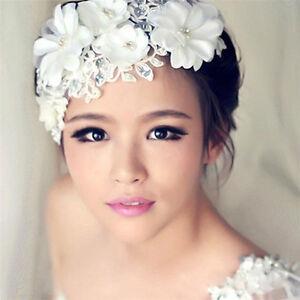 Bridal Headpiece Wedding Flower Lace Pearls White Floral Headband Hair Accessory