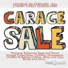 GARAGE SALE QUEENS PARK  - SATURDAY 6th FEBRUARY 9am Queens Park Eastern Suburbs Preview