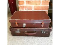 Two vintage suitcases - perfect for weddings, stage props