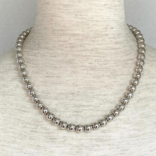 """VTG Sterling Silver 925 8mm Bead Ball Necklace 18.5"""" Box Clasp on chain 40.87g"""