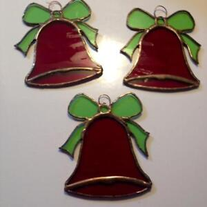 3 Stained Glass Bell Ornaments