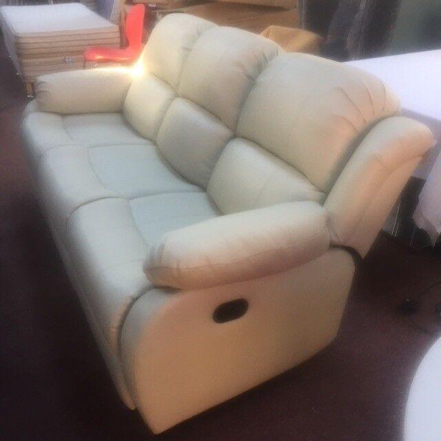 Ex Display Cream Leather Recliner Sofa