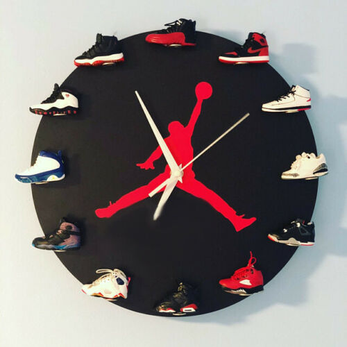 """New Handcrafted 12"""" 3D Jordan 1-12 Sneakers clock OFF OW nike supreme"""