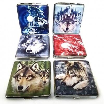 Zigarettenetui Zigarettenbox aus Metall 20 Zigaretten verschiedene Wolfsmotive Metall-etui