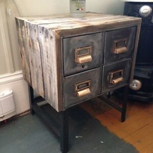 Side tables barnboard clad index boxes
