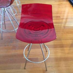 Four Red L'eau Bar/Kitchen Stools - Imported from Italy City Beach Cambridge Area Preview
