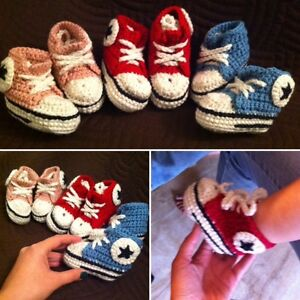 Converse Style crochet baby shoes