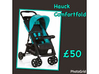BRAND NEW HAUCK SHOPPER COMFORTFOLD BUGGY PRAM PUSHCHAIR STROLLER IN BLUE AQUA & black FROM BIRTH