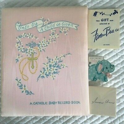 Vintage A Catholic Baby Record Book - CR Gibson - Pink Satin with Box and - Catholic Baby Record