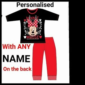PERSONALISED kids Girls Disney Minnie Mouse pyjamas ANY NAME FREE UK POSTAGE ages 4-10y