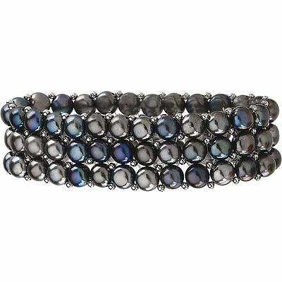 Black Button Freshwater Cultured Pearl Sterling Silver 3 Row Stretch Bracelet Freshwater Button Pearl Stretch Bracelet