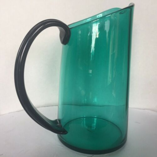 Hand Blown Peacock Blue Art Glass Bar/Cocktail Pitcher 8.5""