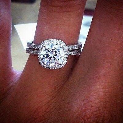 2.70 Ct. Round Cut Halo Pave Natural Diamond Wedding Set - GIA Certified