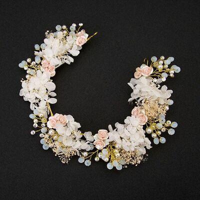 Hecho a Mano Floral Boda Tiara Corona de Flores Pelo Accesorios Perlas...