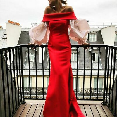$2175 Leal Daccarett Tina Puff Sleeve Dress Maxi Formal Red Size 4 Mermaid Prom