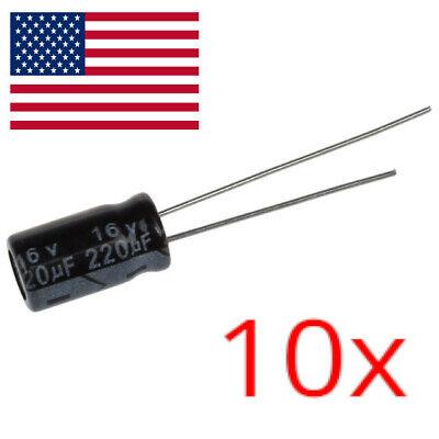 10pcs 220uf 16v Electrolytic Capacitors