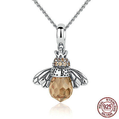 Bee Necklace - Honey Bee Pendant Necklace - Authentic .925 Sterling Silver and Amber CZ