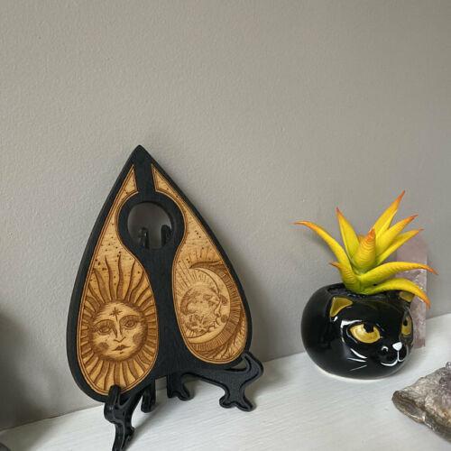 Handmade: Engraved Wood Planchette for Ouija Board - Sun & Moon