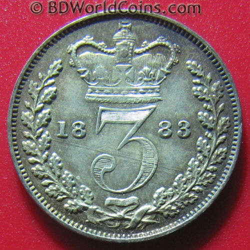 1883 MAUNDY 3 PENCE SILVER XF/AU SOME LUSTER! GREAT BRITAIN LOW MINT=4,488 COINS
