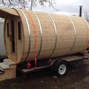 EXCLUSV Mobile Barrel Sauna Tiny Home 7'X12' Single Axle Trailer