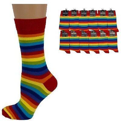 STRIPED/STRIPEY Mens/Unisex Cotton-Rich RED RAINBOW Socks UK 6-11, multi colour