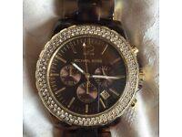 Michael Kors Gold Diamond tortoise shell watch