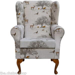 Small Westoe Wing Back Fireside Armchair in Taton Autumn Fabric