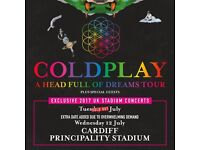 2 X Standing Coldplay tickets Cardiff Wednesday 12th July 2017