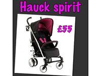 EXDISPLAY HAUCK SPIRIT BUGGY PRAM PUSHCHAIR STROLLER IN BERRY PINK & BLACK SUITABLE FROM BIRTH