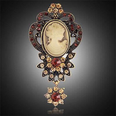 XL Brosche Kamee Vintage Gemme Kristall 70mm X 35mm Amber Antik Blumen Paris