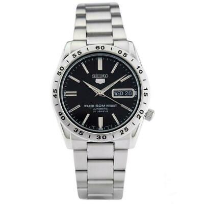 Seiko Stainless Steel Bracelet Black Dial Silver Tone Men's Watch SNKE01K1