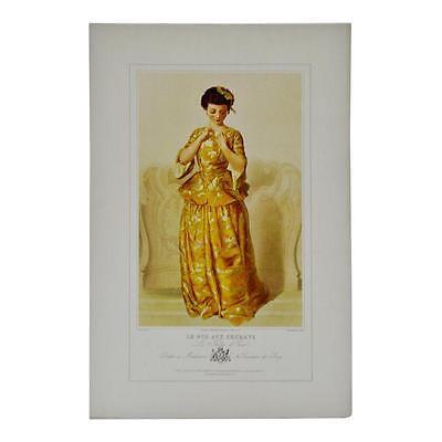 Vintage 1967 Lithograph of 19th Century Parisian Fashion Titled Le Nid Aux Secre