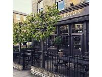 Full time bartender/waiter needed in classy, North London Gastro pub, immediate start available