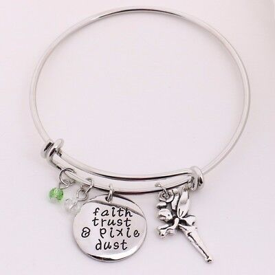 Tinkerbell Inspired   Faith Trust And Pixie Dust Silver Plated Charm Bangle