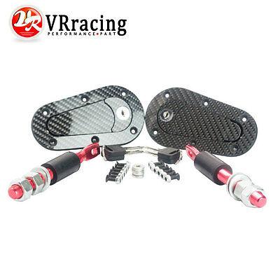 (Universal JDM Carbon Fiber Hood Pin Plus Flush Mount latch Kit Lock With Keys)