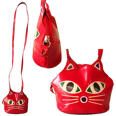 Cat Face Handmade Small Leather Bag India Shantiniketan Purse Girls Red Painted