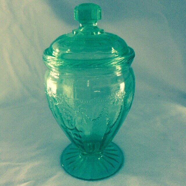 """Green Cameo Ballerina (Dancing Girl) Footed Candy Dish w/Lid 6-1/2"""" tall"""