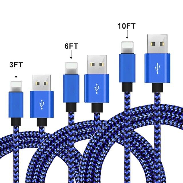 3 PACK 3FT-6FT-10 FT Heavy Duty Braided Charger Cable Cord For iPhone 12 11 X 8 Cables & Adapters