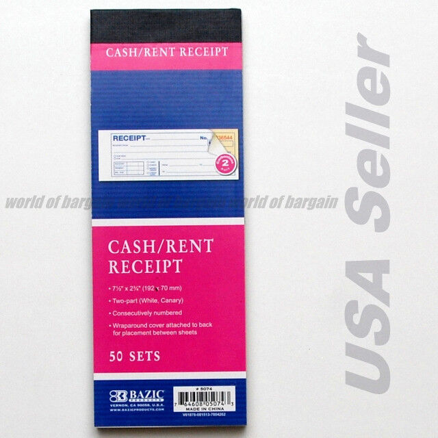 Cash / Rent CARBONLESS Receipt Book 2 Part 50 Sets Money Record Booklet C014